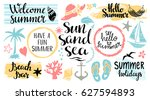 summer beach logo  icons  signs.... | Shutterstock .eps vector #627594893