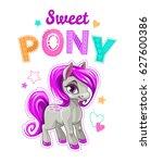 cute cartoon little horse with... | Shutterstock .eps vector #627600386