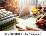 teamwork of business man... | Shutterstock . vector #627611114