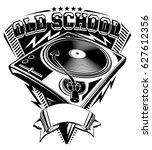 old school music emblem with... | Shutterstock .eps vector #627612356