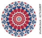 colorful round ethnic pattern.... | Shutterstock .eps vector #627616889