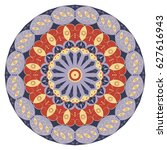 colorful round ethnic pattern.... | Shutterstock .eps vector #627616943