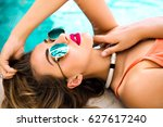 close up portrait of sensual... | Shutterstock . vector #627617240