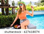 outdoor right sunny portrait of ... | Shutterstock . vector #627618074