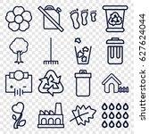 environment icons set. set of... | Shutterstock .eps vector #627624044