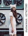 streetstyle  fashion. cute girl ... | Shutterstock . vector #627627080