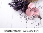 sweet lavender macaroons french ... | Shutterstock . vector #627629114
