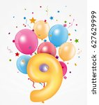 happy birthday balloon with... | Shutterstock . vector #627629999