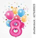 happy birthday balloon with... | Shutterstock . vector #627630023