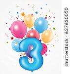 happy birthday balloon with... | Shutterstock . vector #627630050