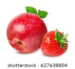 strawberry and apples ... | Shutterstock . vector #627638804