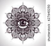 asian flower mandala with eye.     Shutterstock .eps vector #627640250