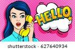 beautiful young woman talking... | Shutterstock .eps vector #627640934