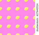 lemons seamless pattern on pink ... | Shutterstock .eps vector #627643514