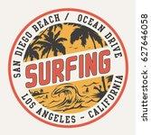 surf typography  tee shirt... | Shutterstock .eps vector #627646058