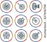 dart icons set. set of 9 dart... | Shutterstock .eps vector #627646700