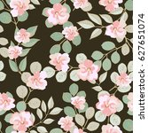 vintage feedsack pattern in... | Shutterstock . vector #627651074