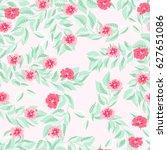 vintage feedsack pattern in... | Shutterstock . vector #627651086