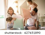 family having funny pillow... | Shutterstock . vector #627651890