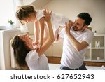 happy family with one daughter... | Shutterstock . vector #627652943