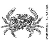 crab with ethnic doodle pattern.... | Shutterstock .eps vector #627654206