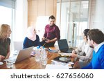 manager having conference with... | Shutterstock . vector #627656060
