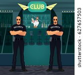 two big and bald bouncers... | Shutterstock .eps vector #627657503