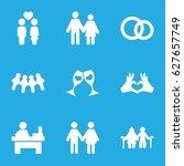 couple icons set. set of 9... | Shutterstock .eps vector #627657749
