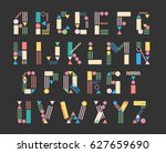 hipster letters  colorful kids... | Shutterstock .eps vector #627659690