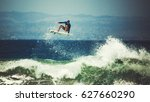 surfer on the wave. the surfer... | Shutterstock . vector #627660290