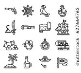 pirates icons set. line style... | Shutterstock .eps vector #627664763
