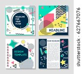 set of artistic colorful... | Shutterstock .eps vector #627667076