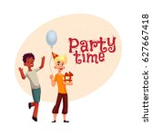 two boys at birthday party ... | Shutterstock .eps vector #627667418