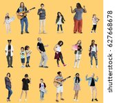 diverse of people enjoy music... | Shutterstock . vector #627668678