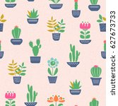 seamless pattern with house... | Shutterstock .eps vector #627673733