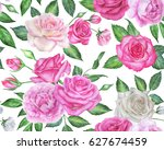 seamless floral pattern with... | Shutterstock . vector #627674459