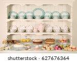 british afternoon tea  scones... | Shutterstock . vector #627676364
