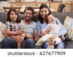 portrait of smiling family... | Shutterstock . vector #627677909