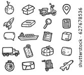 hand drawn logistic icons.... | Shutterstock .eps vector #627678536