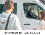 smiling professional driver in... | Shutterstock . vector #627682736