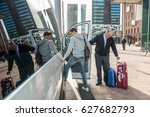 taxi driver with luggage... | Shutterstock . vector #627682793