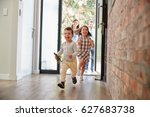 excited children arriving home... | Shutterstock . vector #627683738