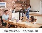 busy family home with father... | Shutterstock . vector #627683840