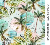Stock photo abstract summer geometric seamless pattern watercolor palm tree leaf marble grunge doodle 627684470