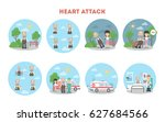 heart attack infographic on... | Shutterstock . vector #627684566