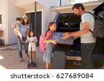 family packing car ready for... | Shutterstock . vector #627689084