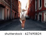 travel guide. young female... | Shutterstock . vector #627690824