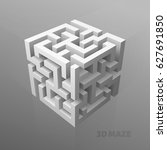 the maze cube | Shutterstock .eps vector #627691850
