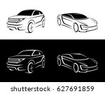 Stock vector crossover offroader sports car sketch 627691859
