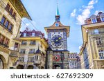 Astronomical clock on the medieval Zytglogge clock tower in Kramgasse street in old city center of Bern, Switzerland.